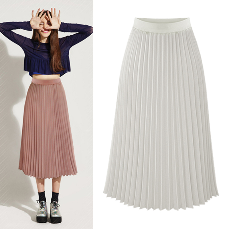 0d16de33f3 Vintage Maxi Skirts 2019 Women Bohemian Style Elastic Waist Chiffon Long  Skirt Female Spring Summer Pleated Skirts Black Pink-in Skirts from Women's  ...
