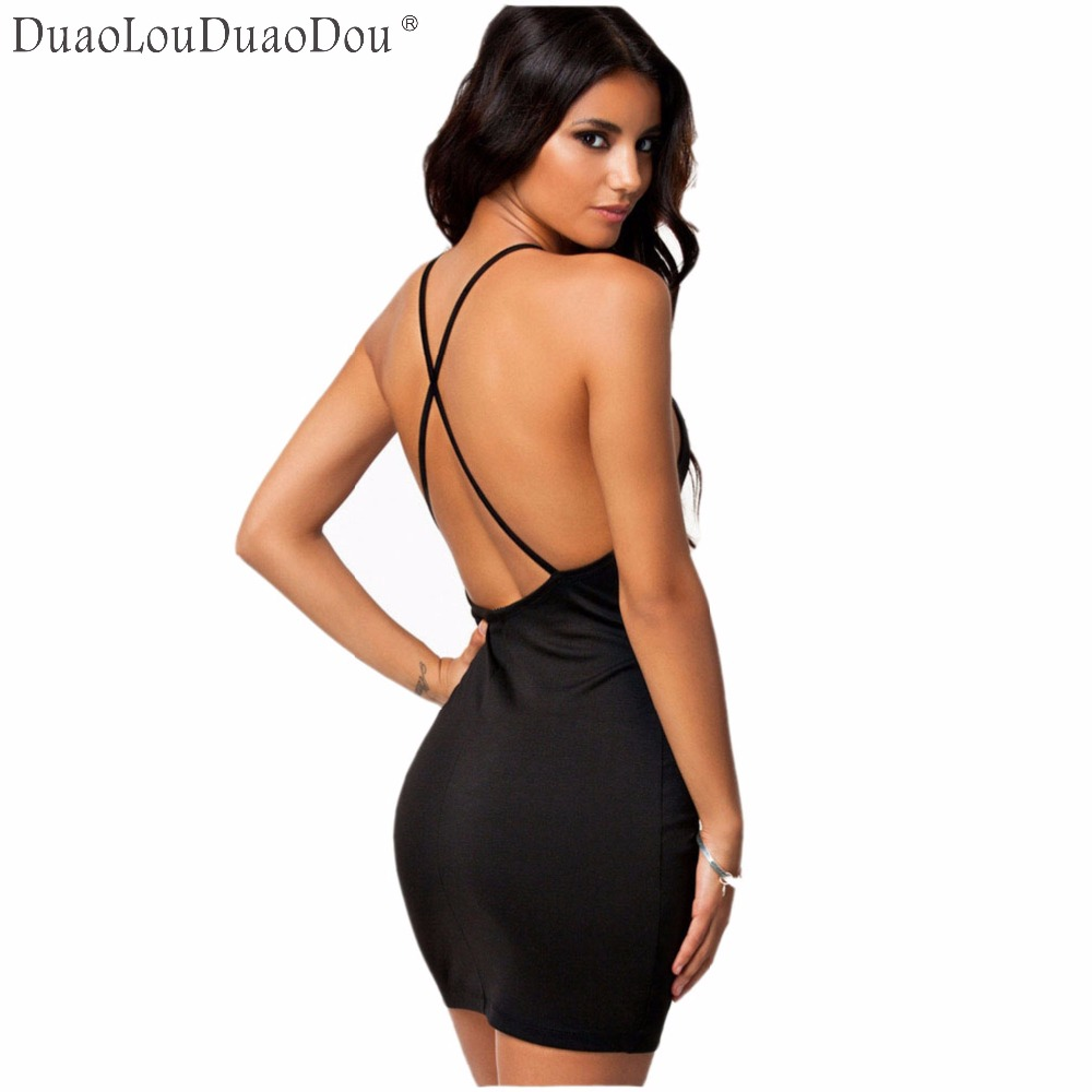 DuaoLouDuaoDou European nightclub style sexy cross harness women dresses pure color Slim body Bare back hip tight dress S M L