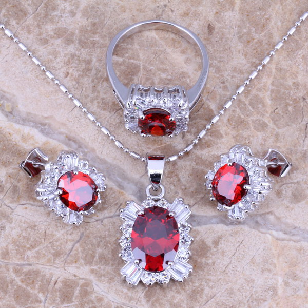 Red Garnet White CZ Silver...