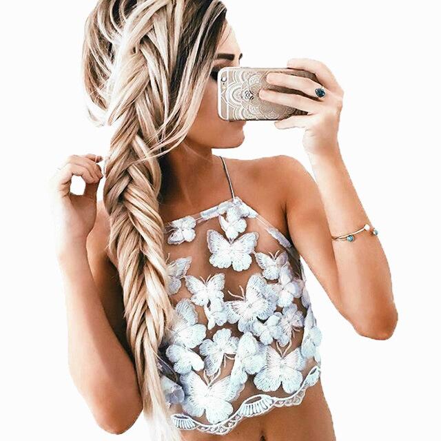 GT104 Женщины Сексуальное Полу Сетки Вышивка Блестками Бабочка Аппликации Короткий Топ Summer Beach Party Вернуться Узелок Tube Топ Майки