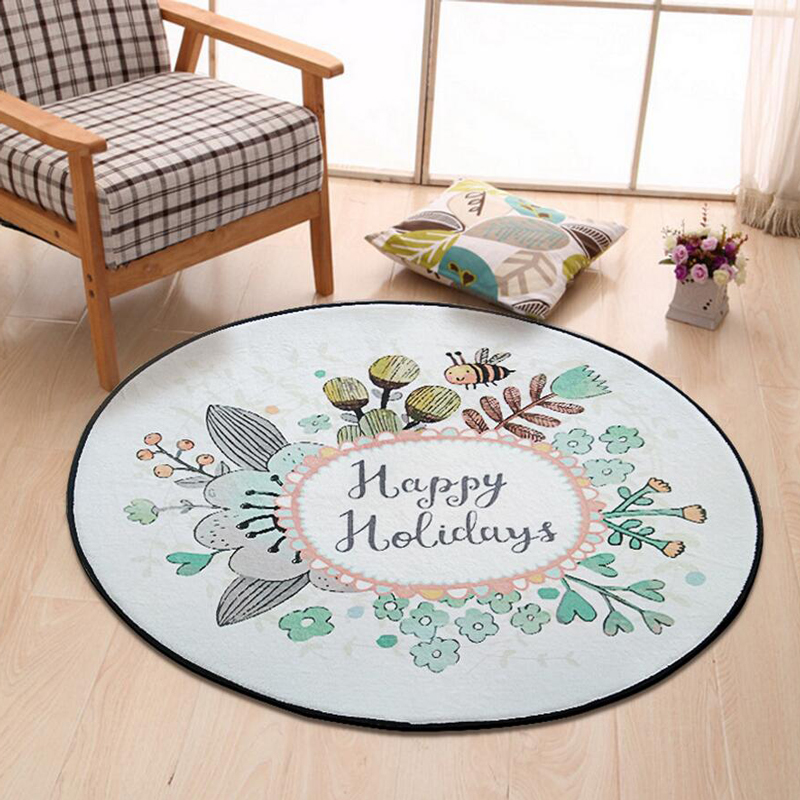 Home Supplies Coral Fleece Soft Round Cartoon Rabbit Carpet Non-Slip Water Drawing Floor Rug Chair Yoga Mat for Kids Bedroom