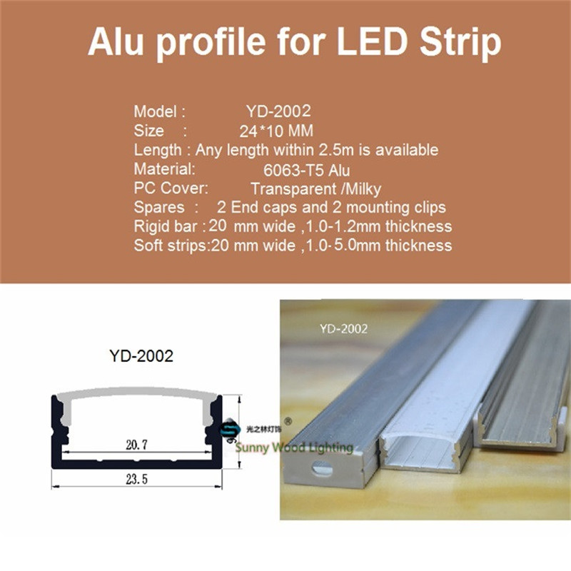 Image 5 - 5 30pcs/lot 40inch 1m flat aluminum profile for double row led strip,milky/transparent cover channel for 20mm pcb with fittings-in LED Bar Lights from Lights & Lighting