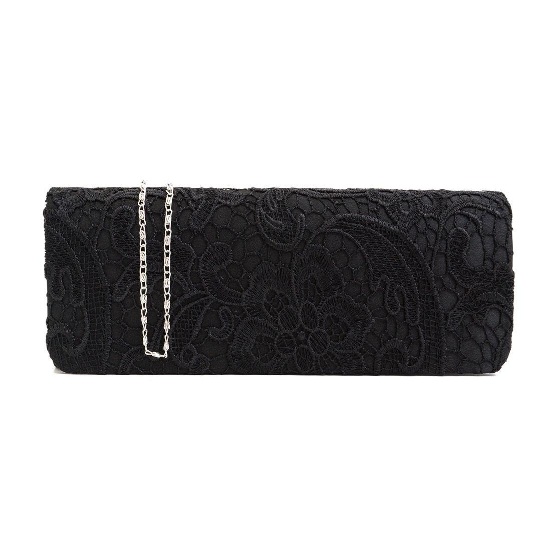 Satin Floral Lace Designer Clutch Bag Evening Purse Ladies Party Wedding Women, Black