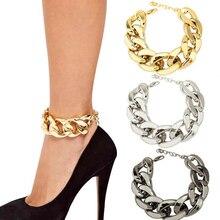 1Piece Punk Gun Black Shoes Chain Anklets Ankle Bracelet Snake Chain Multilayer Tassels Foot Jewelry women Summer Bracelets