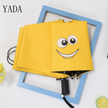 YADA Custom Funny Smiley Face Creative Windproof Reinforced Sunscreen Parasol Folding Umbrella Cartoon Waterproof YS335
