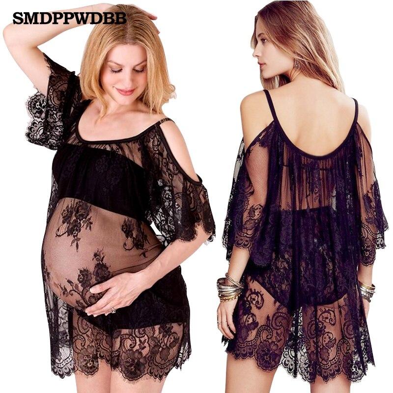 SMDPPWDBB fekete szülési fotós prémium szexi csipke ruhák divat terhes ruha fotózásra anyasági ruha fotó