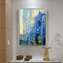 Monet Church,canvas Oil painting,Hand painted famous church,reproduction of Monet painting, Wall Pictures for Living room home little monet