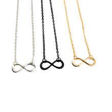 Venda n591 moda 8 infinito colar simples oito carta pingentes colares para mulheres meninas bonitas jóias presentes por atacado