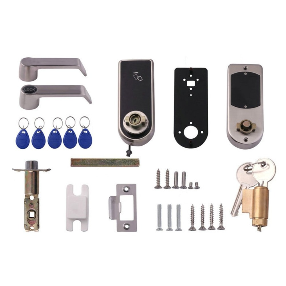 2018 Smart Touch Screen Electronic Door Lock Password, 4 Cards, 2 Keys, Digital Code ID Card Keyless Door Lock Kit smart door lock keyless lock smartphone security door lock electronic digital card touch screen password safe lock door