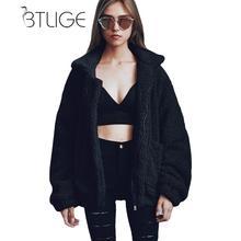 Btlige плюс Размеры 3XL шерпа куртка на молнии Для женщин теплые зимние хип-хоп уличной флис пальто свободные бархат верхняя одежда Для женщин S Топы корректирующие