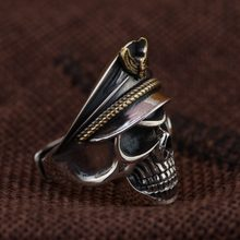 Deer King jewelry personality skull Mensring wholesale S925 Silver Antique Style(China)