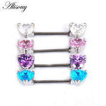 Alisouy 1PC love Heart Crystal Nipple Ring Nipple Piercing Sexy Women Nipple Rings Cover Piercing Body Jewelry for sex girl(China)