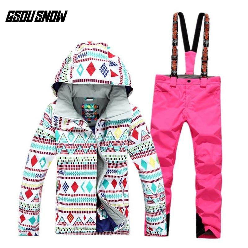 GSOU NEIGE Costume De Ski Femmes de Costume Coupe-Vent Imperméable Chaud Respirant Ultra Léger Hiver Ski Veste Ski Pantalon Pour Femmes Taille SL