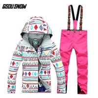 GSOU SNOW Ski Suit Women's Suit Windproof Waterproof Warm Breathable Ultra Light Winter Ski Jacket Ski Pants For Women Size S L