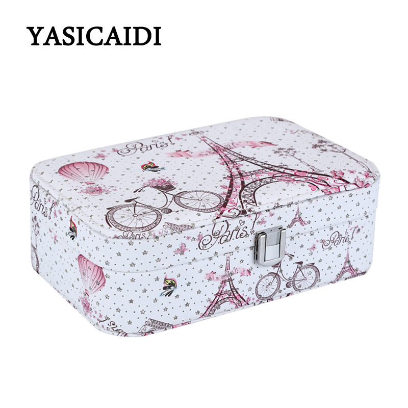 Jewelry Box Portable Travel Jewelry Organizer Pu Leather Storage Case For Jewelry With Mirror Gift Box For Women Landscape Bag top quality suitcase travel transport safety storage case bag for dji spark accessories pgytech portable explosion proof box