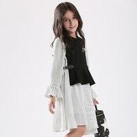 Teen Girls Dress Striped Casual Cotton Dress Vest Lotus Leaf Sleeve Dress 2pcs Girls Sets For