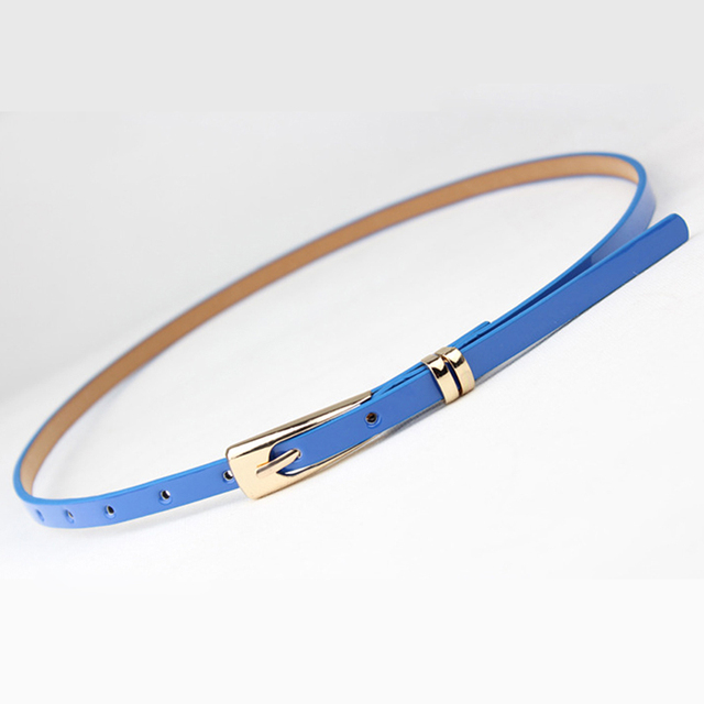 2019 New 8 Colors Thin Pu Leather Belt Female Red Brown Black White Yellow Waist Belts for Women Dress Strap Wholesale