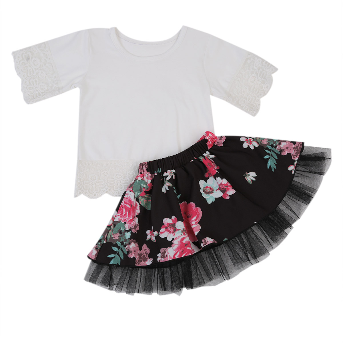 2017 Fashion Kids Baby Girls White Lace Tops Floral Tulle Tutu Skirt 2Pcs Outfits Clothing Set 1 6T 2019 in Clothing Sets from Mother Kids
