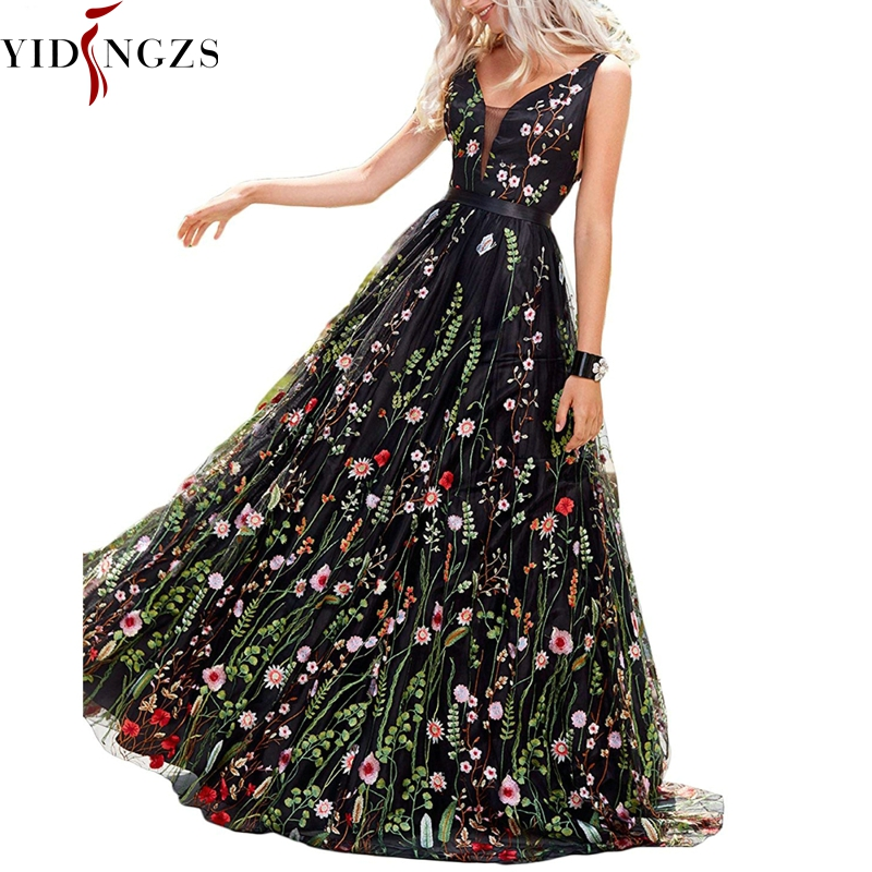 YIDINGZS Women's Formal   Dress   Black Tulle With Flower Embroidery   Evening     Dress   Backless See-through Party   Dress