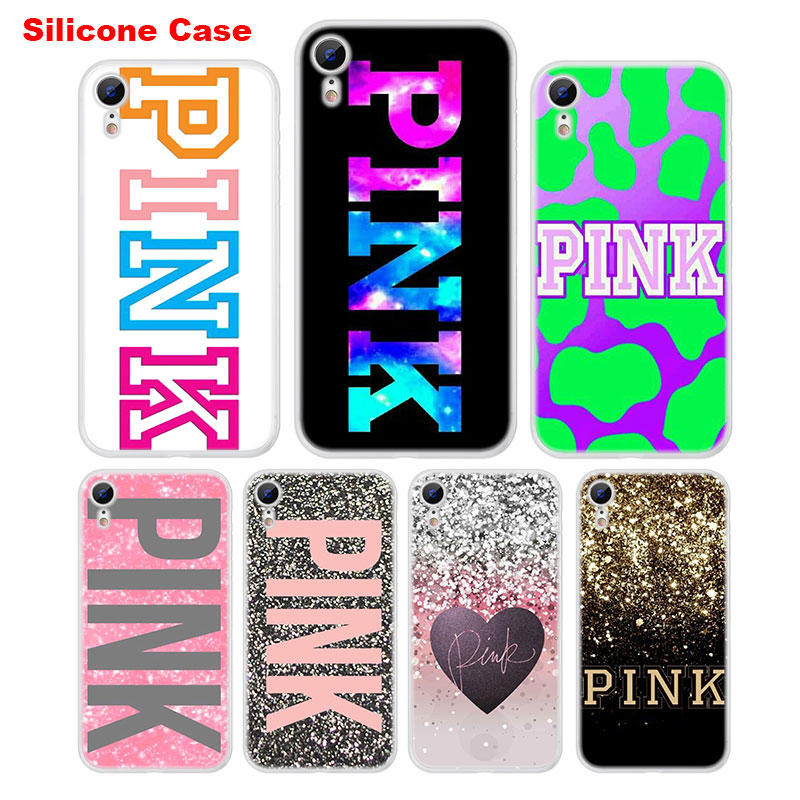Cute Phone Case For IPhone 5 5S SE 6 6S 7 8 Plus Silicone Soft TPU Cover For IPhone X XR XS MAX  Pink Fashion Coque Style 158XX