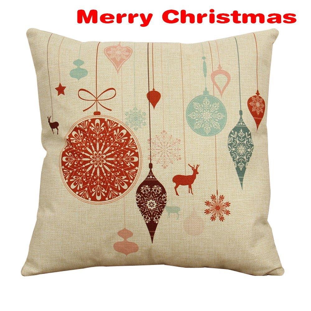 Home Decorative Cotton Linen Square Pillowcase Vintage ...