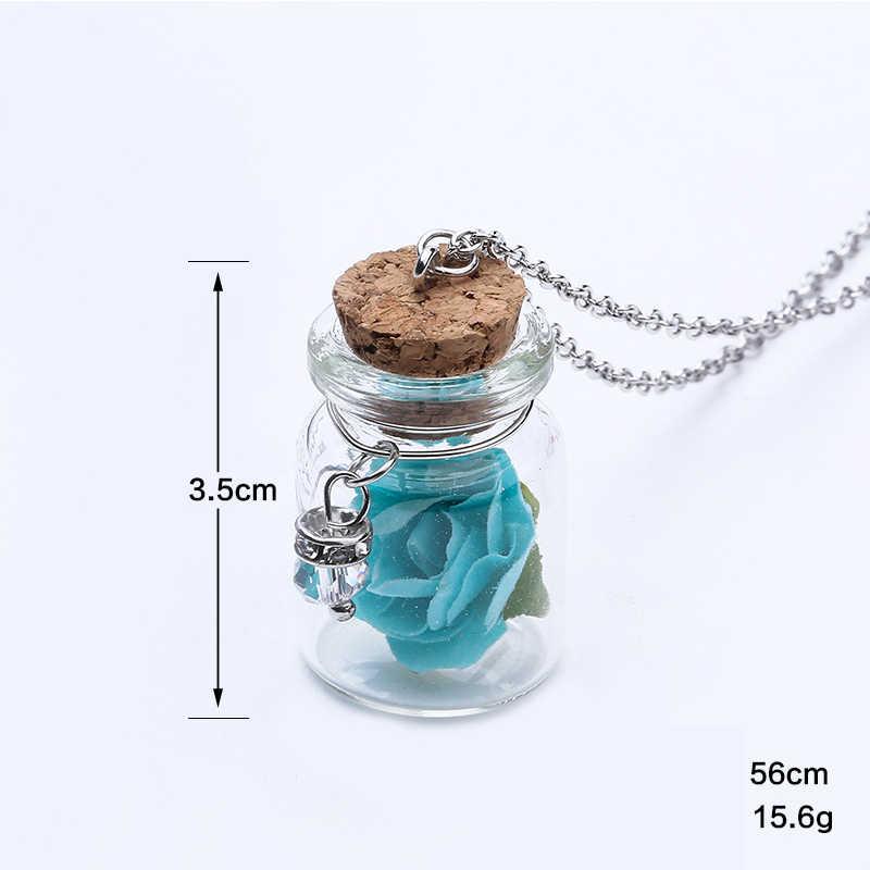 LNRRABC טרנדי טרי נשים פרח שרשרת זוהר זוהר זכוכית בקבוקי תליון שרשרת שיק תכשיטים