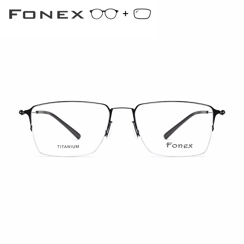 Alliage de titane lunettes de Prescription hommes Semi sans monture myopie cadre optique femmes coréen sans vis lunettes Prescription lunettes - 3