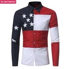 Bleuziel Brand Breathable Cotton Print Men Shirts Autumn Long Sleeve Fashion England Style Flag Pattern