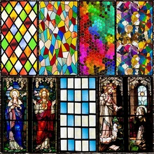 Frosted Church stained glass window film electrostatic home foil door sticker PVC Custom self-adhesive decorative films