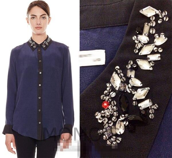 EQ 100% soie bling dames diamants femmes blouses à manches longues femmes chemise printemps automne