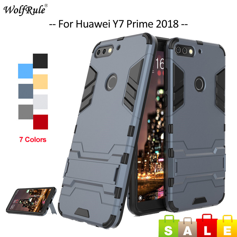 For Cover Huawei Y7 Prime 2018 Case Silicone & PC Holder Phone Case For Huawei Y7 Prime 2018 Cover Honor 7C / Enjoy 8 5.99''