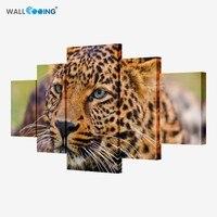 5 unidades lienzo arte moderno de los leopardos decoración casera de la pared arte animal pintura lienzo conjunto de 5 cada arte lienzo impresiones