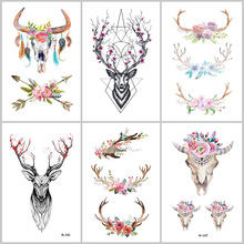 bb65f3b78 Wyuen Hot Designs Deer Temporary Tattoo For Women Tattoo Body Art 9.8X6cm  Waterproof Hand Fake