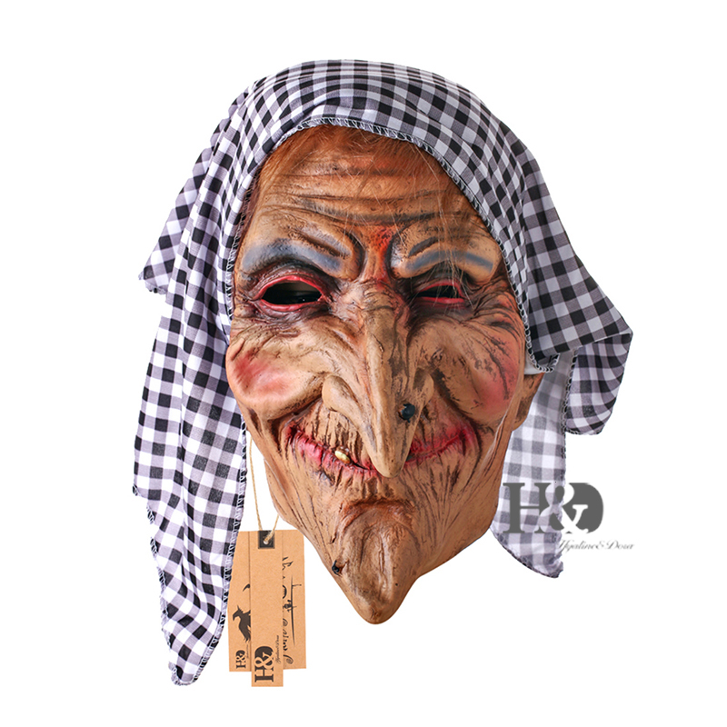Plein Visage Cosplay Latex Femelle Masque Effrayant Les Rides Vieille Mamie avec Foulard Horreur Mascarade Adulte Fantôme Halloween Props