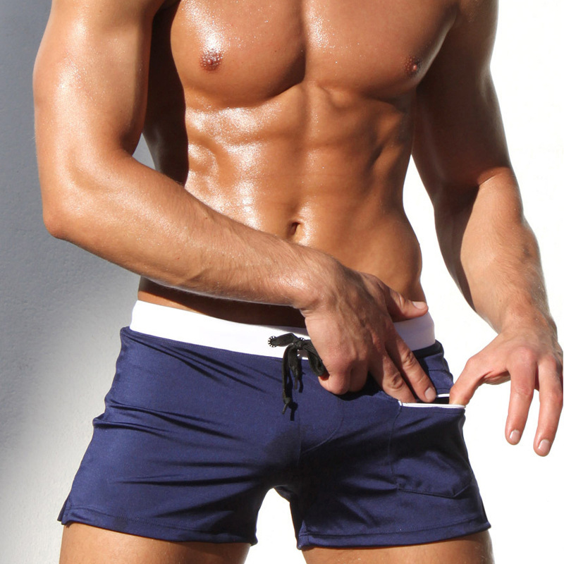 Mens flat-angle swimming trunks, shorts, beach pants, trendy, loose, comfortable, quick dry hot spring swimming trunks man