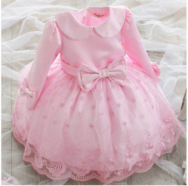 Korean Children Girls Wedding Long Sleeved Kids Princess Dress Kids Clothing Bow Pink fashion side bang charming short straight dark brown mixed blonde heat resistant synthetic capless wig for women