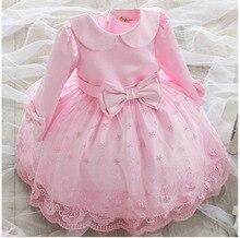 Корейские Дети Девушки Свадьба С Длинными Рукавами Детей Платье Принцессы Детская Одежда Лук Розовый
