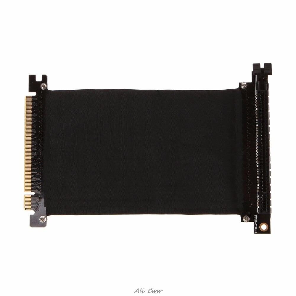PCI Express PCI-e 3.0 16x Adaptador Riser Cartão Flexível Cabo de Extensão de Alta Velocidade Angular Preto