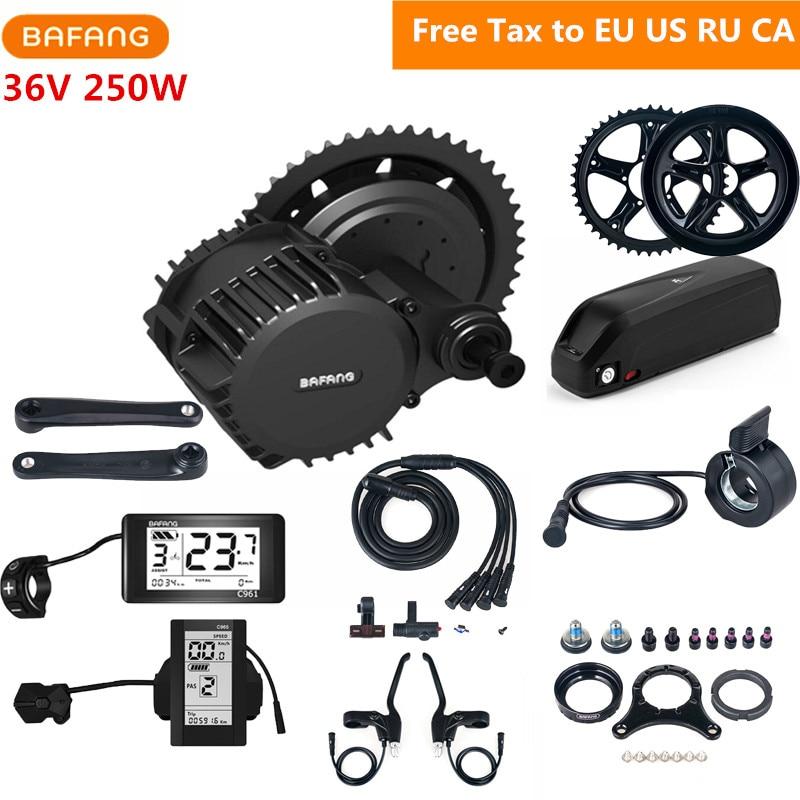 Bafang 8fun 36V 250W BBS01B Mid Drive Motor Kits C965 C961 Eletric Bicycle Kits With 36V 17AH Li-ion Battery EU US RU Free Tax