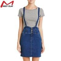 2017 Denim Suspender Skirt For Women Elastic Slim Casual High Waist Preppy Style Girls School Jeans
