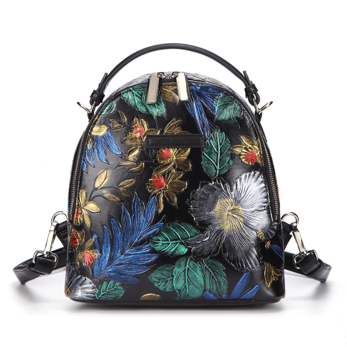 여자 양각 된 학교 데이 팟 배낭 슬링 어깨 가방 여성 고품질 정품 가죽 배낭 여행 가방 배낭-에서백팩부터 수화물 & 가방 의  그룹 1