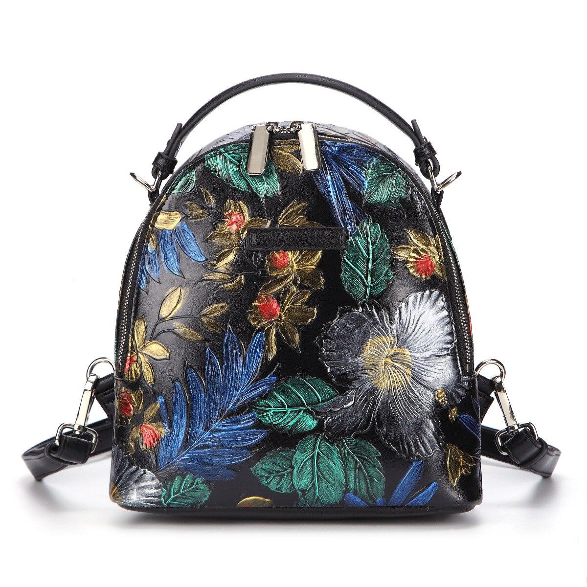 Las mujeres en relieve la escuela mochila bandolera de hombro bolsas de mujer de cuero genuino de alta calidad mochila bolsa de viaje-in Mochilas from Maletas y bolsas    1