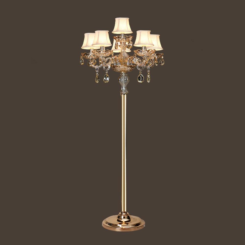 Hghomeart e14 glass crystal lamp led floor lamps fabric for Mfl 1 floor lamp