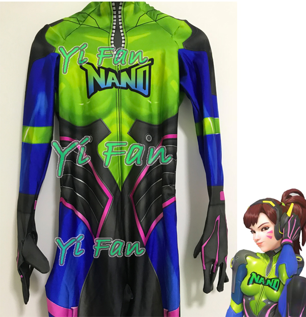 Hot Sale Nano Cola D.Va Skin Cosplay Costume Custom Made 3D Print High Quality Game Lycra New DVA Nano Zentai Suit