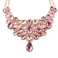 Mulheres Grande Colar de Moda Com contas de Vidro Rosa Pedra Exagerada Exótico Grande Jóias Vestuário Acessórios Do Traje de Natal Presentes