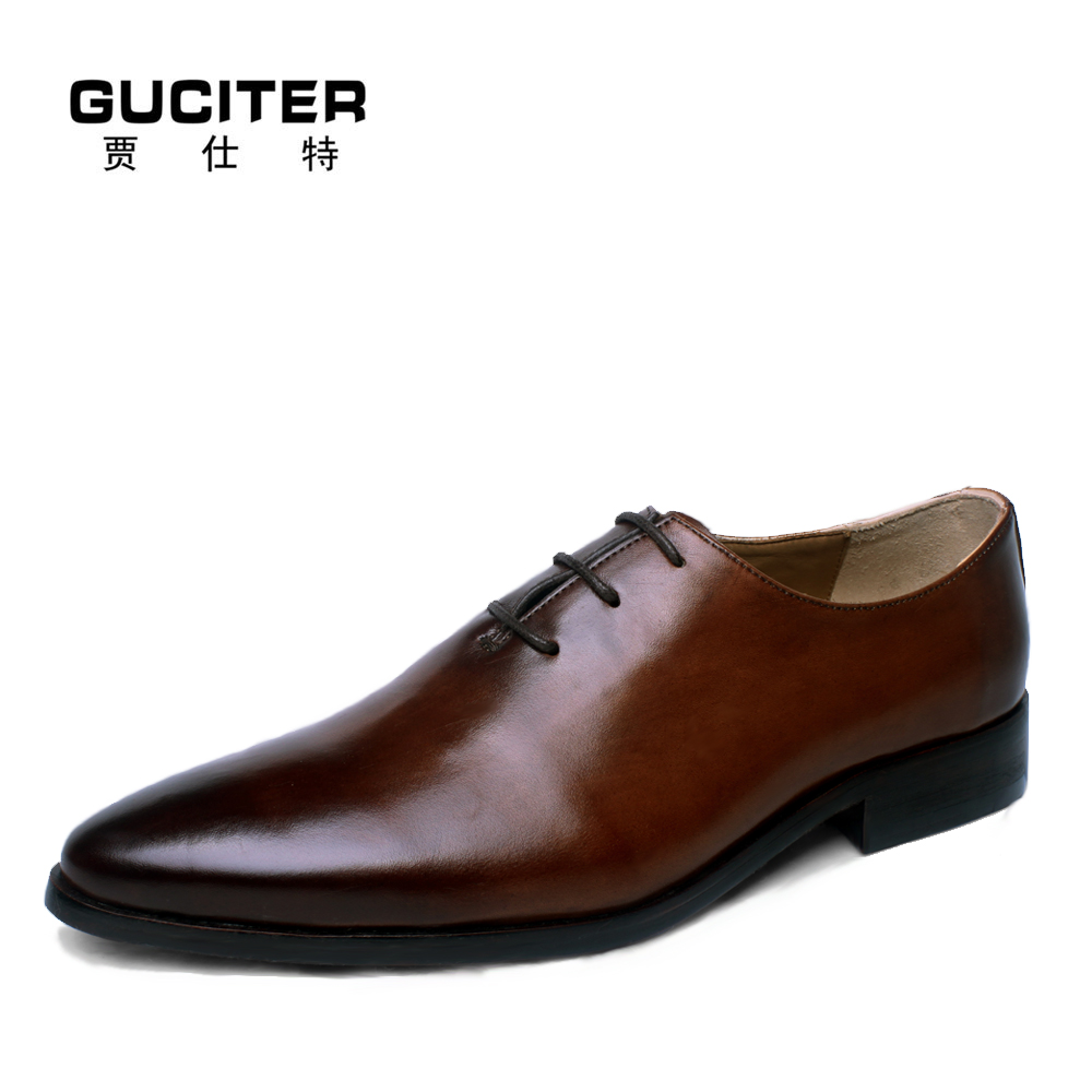 Фото Guciter Goodyear shoes custom made suits high-grade pointed leather British business handmade brock mens shoes brand casual