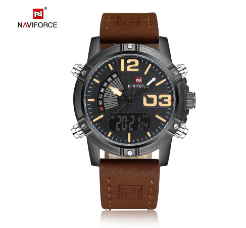 NAVIFORCE 9095 Men's Digital Sport Watch Wrist Watch For Men Top Brand Military Luxury Leather  LED Quartz Men's Watch