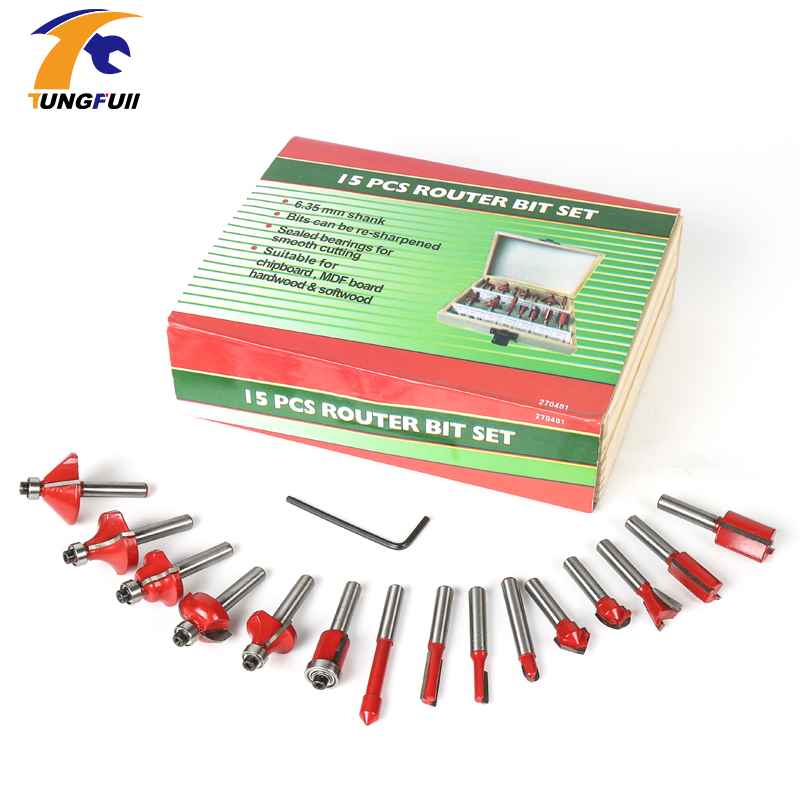 15PCS 1/4(6.35mm) Shank Tungsten Carbide Router Bit Set Wood Woodworking Cutter Trimming Knife Forming Milling w/ Wood Case box [15 pcs router bit set] woodworking milling cutters for wood router woodworking machine free shipping yg8 carbide wooden box