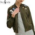 Moda legal jaqueta básica 2016 outono mulheres jaquetas casaco verde do exército emblema patch designs zipper ocasional outerwear roupas