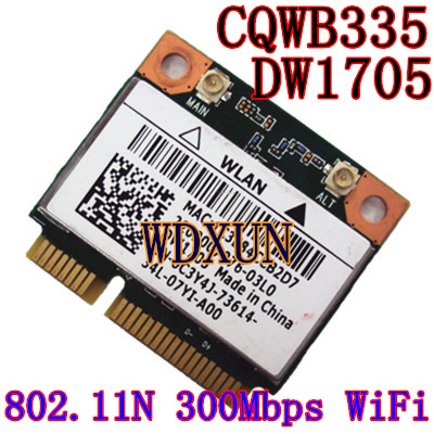 Atheros DW1705 Wireless 802.11N+Bluetooth 3.0 150Mbps Wifi Half Mini PCI-E Wlan Card QCWB335 For DELL Asus Acer Toshiba WIFI